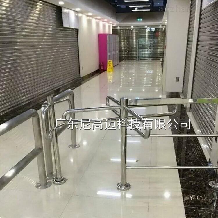 商场不锈钢单线旋转门出入口简易十字单向门